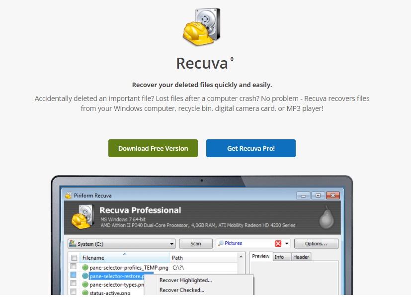 Programa Para Recuperar Arquivos Deletados Do PC / Fonte: Captura de Tela do Site Oficial