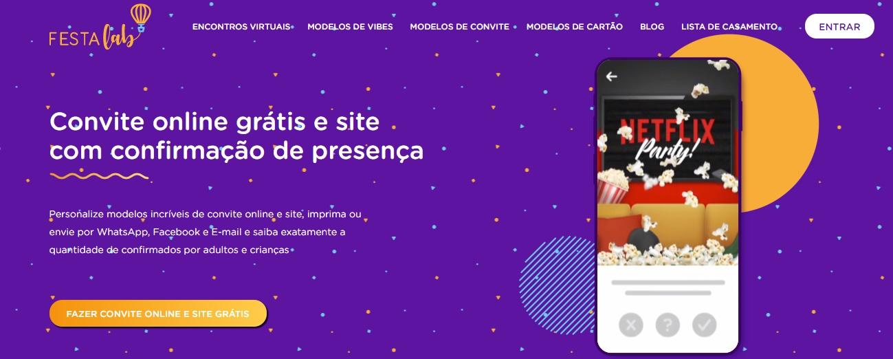 App Para Montar Convite Virtual / Fonte: Captura de Tela do Site Oficial