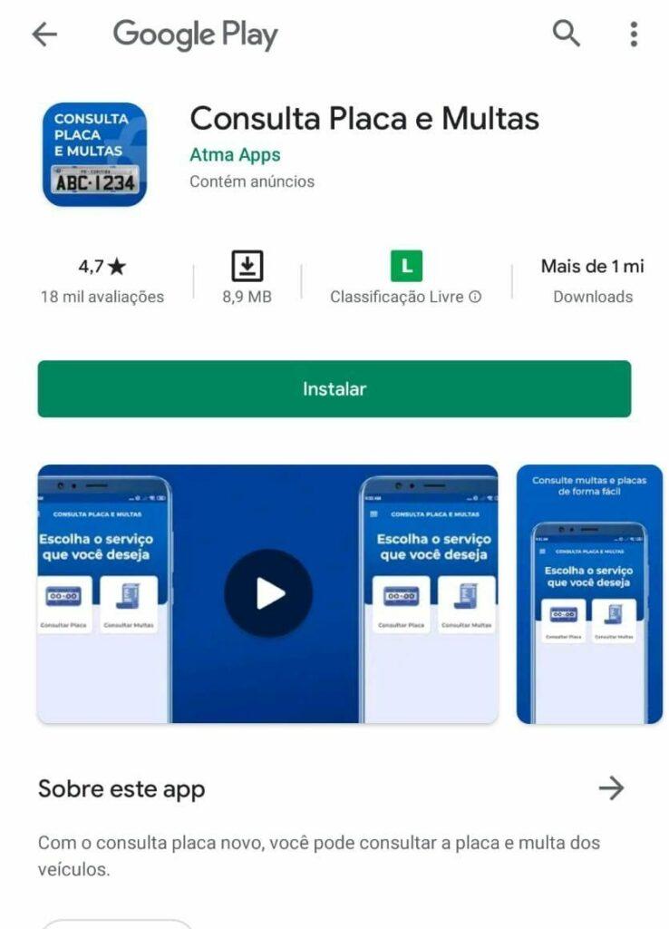 App Para Android Para Verificar Placa De Veículo / Fonte: Google Play