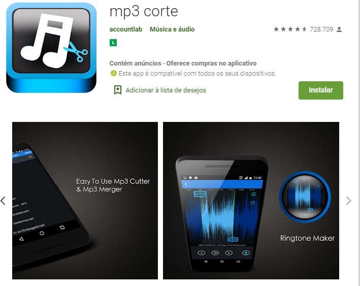 App Para Cortar Música No Android / Fonte: Google Play