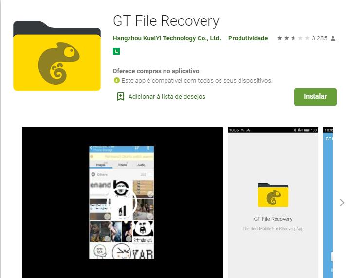 Aplicativo De Android Para Restaurar Vídeos Apagados / Fonte: Google Play Store