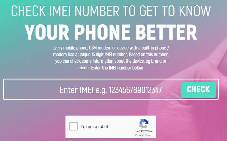 Como Consultar IMEI Pelo PC / Fonte: Captura de Tela do Site Oficial